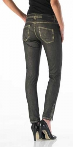 Superslim Damen Jeans in Shiny Gold von Good Morning Universe
