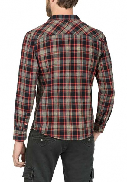 Timezone Washed Flanell Shirt Black Red Crossed